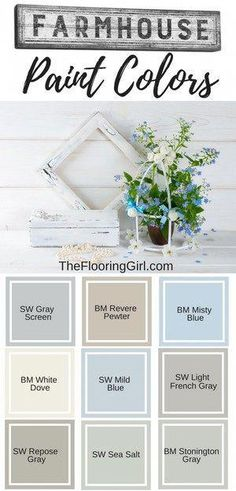Farmhouse style paint colors and decor Farmhouse paint colors. Best shades of paint for modern farmhouse decor. The post Farmhouse style paint colors and decor & HOME & DIY appeared first on Farmhouse decor . Interior Paint Colors, Paint Colors For Home, Paint Colours, Interior Design, Light Blue Paint Colors, Paint Colors For Living Room, Contemporary Interior, Country Farmhouse Decor, Farmhouse Style Decorating