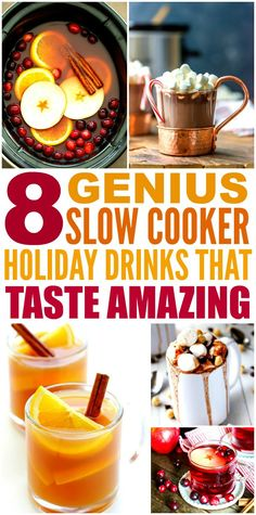 These 8 Genius Slow Cooker Holiday Drinks are THE BEST! I'm so glad I found these GREAT recipe! Now I have some tasty drinks for the Christmas and New Years! Definitely pinning!