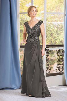 b0ef496ddb J185069 Long V-neck Embroidered Lace   Chiffon MOB Dress
