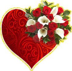 Букет белых и красных цветов