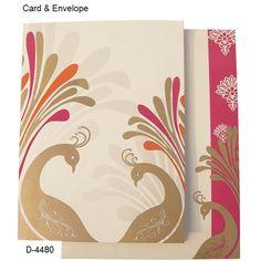 D-4480 - Dual Peacock Dance Sculpture | Designer Wedding Cards | Order Now