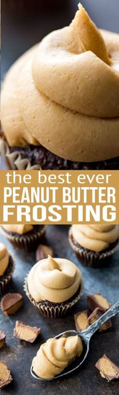 Peanut Butter Frosting that you'll want to eat with a spoon. it is SO creamy and yummy. The most amazing peanut butter frosting ever. This peanut butter frosting is thick, creamy, sweet, and tastes just like peanut butter. Just Desserts, Delicious Desserts, Dessert Recipes, Homeade Desserts, Homemade Cupcake Recipes, Delicious Cupcakes, Food Cakes, Cupcake Cakes, Muffin Cupcake