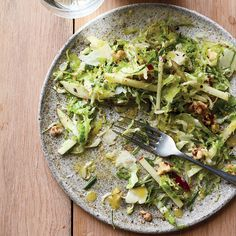 Food & Wine's Brussels Sprout Slaw with Ginger Gold Apple is the perfect salad for fall.