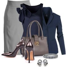 Office outfit: Gray - Navy - Animal print by downtownblues on Polyvore featuring мода and Bling Jewelry