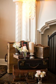 Using Vintage Suitcases stacked in different ways is a great way to create a vignette / Found Vintage Rentals