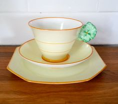 Antique Royal Paragon Art Deco Flower Handle tea cup and saucer trio, tea set in yellow with green flower handle