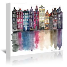 East Urban Home Amsterdam by Mina Teslaru - Floater Frame Print on Paper Format: Wrapped Canvas, Size: H x W x D Framed Wall Art, Wall Canvas, Canvas Art, Framed Prints, Canvas Size, Painting Prints, Art Prints, Amsterdam, Guache