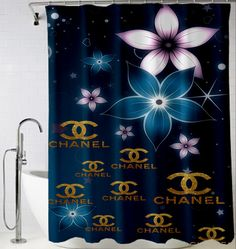 Chanel Blue logo gold Shower Curtain design vintage custom gift birthdays present fashion favorites home living new hot super rare bathroom bath up