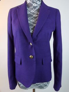 J Crew Women Jacket Coat Sz 0 Purple Eggplant Wool Blend Blazer Schoolboy Lined #JCrew #BlazerJacket