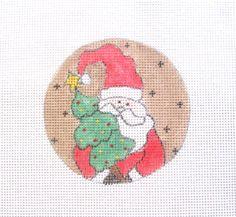 Santa w/Christmas Tree Handpainted Needlepoint Canvas Ornament #Unbranded