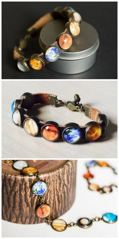 DIY Solar System Bracelet Tutorial from Instructables' User iGreeny of onemancrew.This DIY Solar System Bracelet is made like others I have posted, with clear glass cabochons and round trays. You can also buy bracelets with the blank cabochon bezel...
