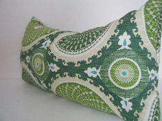 Christmas in July - CIJ - Green Lumbar Pillow, Green White throw pillow cover, emerald Green Pillows, Modern Rectangle Pillow Bohemian Decor