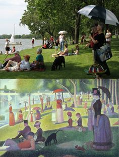 "Recreation of ""A Sunday Afternoon on the Island of La Grande Jatte - 1884""  by Georges Seurat, which is a wonderful pointillism painting"