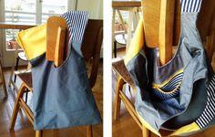 squared circle bag grey/yellow