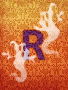 Halloween Ghost Letter R Monogram Initial Flag Canvas House Size
