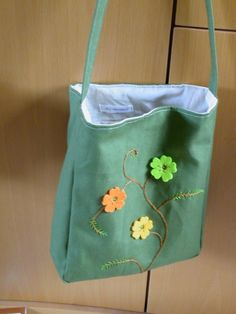 SALE Lime flower tote hand embroidered bag washable by jezdesigns, $30.00
