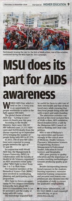 "In conjunction World Aids Day, MSU in collaboration with Faculty of Health and Life Sciences organized an event called ""MSU FIGHT TO ZERO""  Source:Higher Education, Star Special Dec 11, 2014."