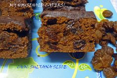 M r G made this slice (thank you love) and he got the recipe from the 'Sunbeam' brand sultana packet. It is so yummy and it lasted only one. Household, Baking, Sweet, Desserts, Recipes, Food, Candy, Tailgate Desserts, Deserts
