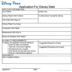 Application for a Disney Date - one day I'll have a boyfriend that will let me use this, and go along with it.