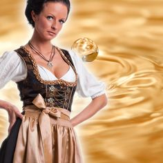 Wir Frauen lieben GOLD. Dieses edle Dirndl lässt uns in den Goldrausch verfallen. Wieder ein tolles Kleid für Anlässe oder die After-Wiesn. MondKini Dirndl für nur 159,- €.