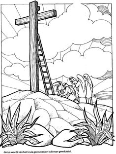 Jesus body removed from the cross Sunday School Coloring Pages, Easter Coloring Pages, Sunday School Kids, Sunday School Activities, Jesus Burial, Holy Week, Bible Crafts, Instagram Highlight Icons, Easter Crafts For Kids