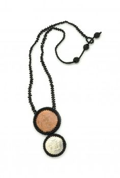 Double Coin Necklace - available in several colors. prosperity necklace and fair trade. Coin Jewelry, Coin Necklace, Beaded Necklace, Pendant Necklace, Fair Trade Jewelry, World Coins, Vintage Buttons, Seed Beads, Pendants
