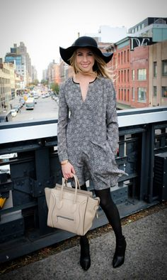 Club Monaco Arleta Dress | Vince Calla Booties | Topshop Floppy Wool Felt Hat | Céline Bag | CasuallyGlam.com