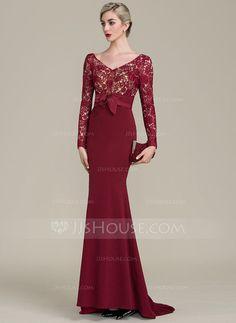 [R$ 528.55] Trompete/Sereia Decote V Sweep/Brush trem Renda Jersey Vestido para a mãe da noiva (008102687)