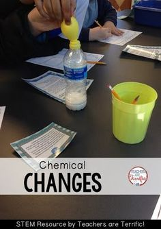 Chemical changes with elementary students! Kids mix vinegar and baking soda to see what happens! Check this blog post for details!