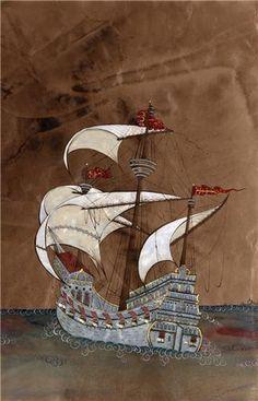 Taner Alakuş Minyatürleri. Image Glass, Medieval Paintings, Turkish Art, Painting Lessons, Ottoman Empire, Islamic Calligraphy, Model Ships, Book Illustration, Mosaic Art