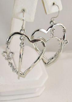 FG481 - Dangle Earrings - Heart Fleur De Lis