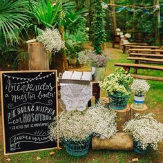 Chalkboard sign & large gypsophila baby breath floral arrangements for an outdoor ceremony with wooden benches - Sara Lazaro - A Rosa Clara dress for an outdoor wedding in Spain with a blue and yellow colour scheme and photography by Sara Lazaro Rustic Wedding Venues, Rustic Wedding Centerpieces, Diy Wedding Decorations, Farm Wedding, Wedding Day, Woodland Wedding, Rustic Wedding Inspiration, Chalkboard Wedding, Rustic Theme