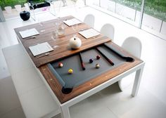 Dining Room Table Converts To Pool Table And TV Is Behind Mirror - Pool table dining top insert