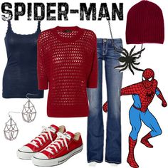 Character: Spider-man Fandom: Marvel Buy it here! Source by Marvel Inspired Outfits, Disney Themed Outfits, Character Inspired Outfits, Disney Bound Outfits, Nerd Outfits, Fandom Outfits, Outfits For Teens, Cute Outfits, Cosplay Casual
