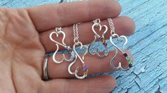 Infinity Heart Mothers Necklace with Optional Custom Child