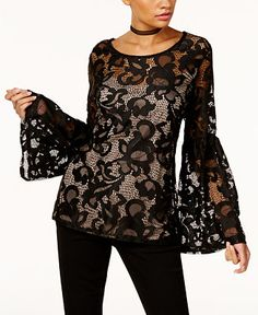 4cc90ea05d879 I.N.C. Lace Bell-Sleeve Top