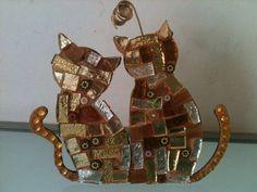 Vetri ambra ed oro per questi due gattini di LelucciolediPapi, €14.00