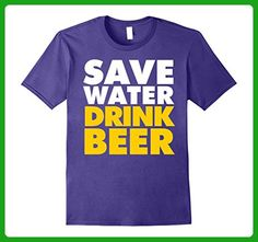 Mens Save Water Drink Beer Funny T-Shirt Medium Purple - Food and drink shirts (*Amazon Partner-Link)