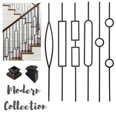 Iron Stair Balusters - Modern Rectangle Metal Spindles for Stairs - Satin Black Hollow Core Wrought Iron Stair Railing Parts, Metal Stair Spindles, Modern Stair Railing, Wrought Iron Staircase, Iron Balusters, Metal Stairs, Staircase Railings, Modern Stairs, Metal Handrails