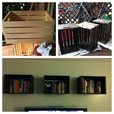 DIY bookshelves I made :) 1. Buy crates ($6.97) on sale at Michaels 2. Stain ($5) at Home Depot 3. Hang and fill with your stuff :)