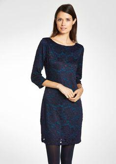 Kanten jurk met 3/4 mouwen - TRUE NAVY - 780749