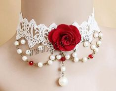 Pure Gothic Ribbon Bridal Lace Pattern Necklace Vintage Romantic Handmade Bridal Wedding White Lace Choker Necklace Short Flower Pearl Relighous Necklace (with Red Rose) White Lace Choker, Neck Accessories, Lace Necklace, Choker Necklaces, Fabric Jewelry, Lace Jewelry, Stone Jewelry, Silver Jewelry, Fashionable Outfits