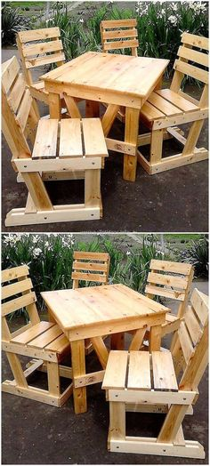 pallets made patio chairs and table