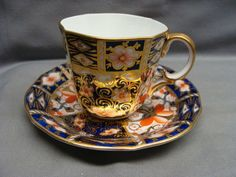 ROYAL CROWN DERBY Traditional Imari #2451 Scalloped Demitasse Cup & Saucer #2