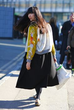 Streetpeeper.com Street Fashion Jacket: Fun SWASH Animal Jacket Skirt: Big Black Skirt Shoes: Cork Shoes Bag: White 3.1 PHILLIP LIM Bag Photo By: Phil Oh