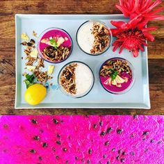Dragonfruit smoothie bowl and coconut smoothie bowl with homemade granola