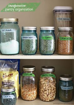 Pantry organized with jars and washi tape on Yummy Mummy Kitchen