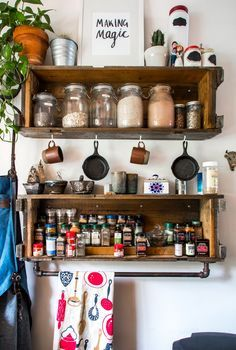 Pantry staples and spices on display