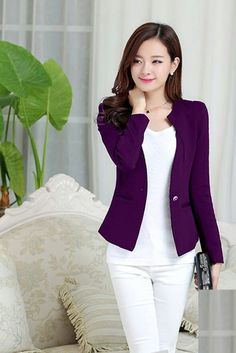 Spring Women Slim Blazer Coat 2016 New Fashion Casual Jacket Long Sleeve One Button Suit Ladies Blazers Work Wear Blazer Fashion, Suit Fashion, Fashion Outfits, Blazers For Women, Suits For Women, Clothes For Women, Ladies Blazers, Women Blazer, Classy Outfits For Women
