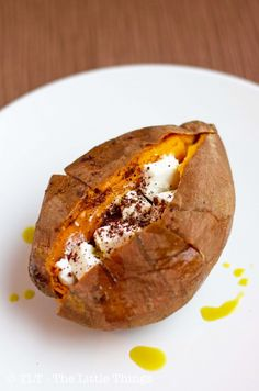 baked sweet potato with goat cheese; sounds a little different but seems really good :)